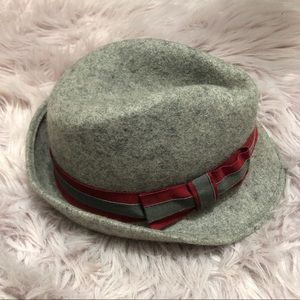 Grey Fedora with Red Bow Accent